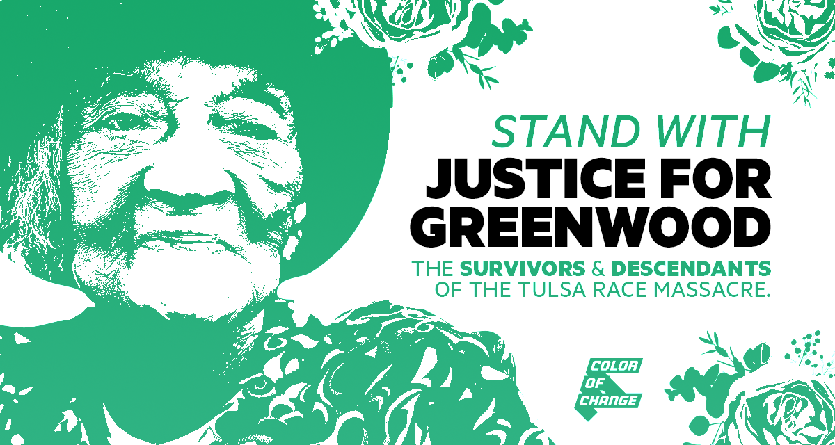 Stand with Justice for Greenwood, the survivors and descendants of the Tulsa race massacre!