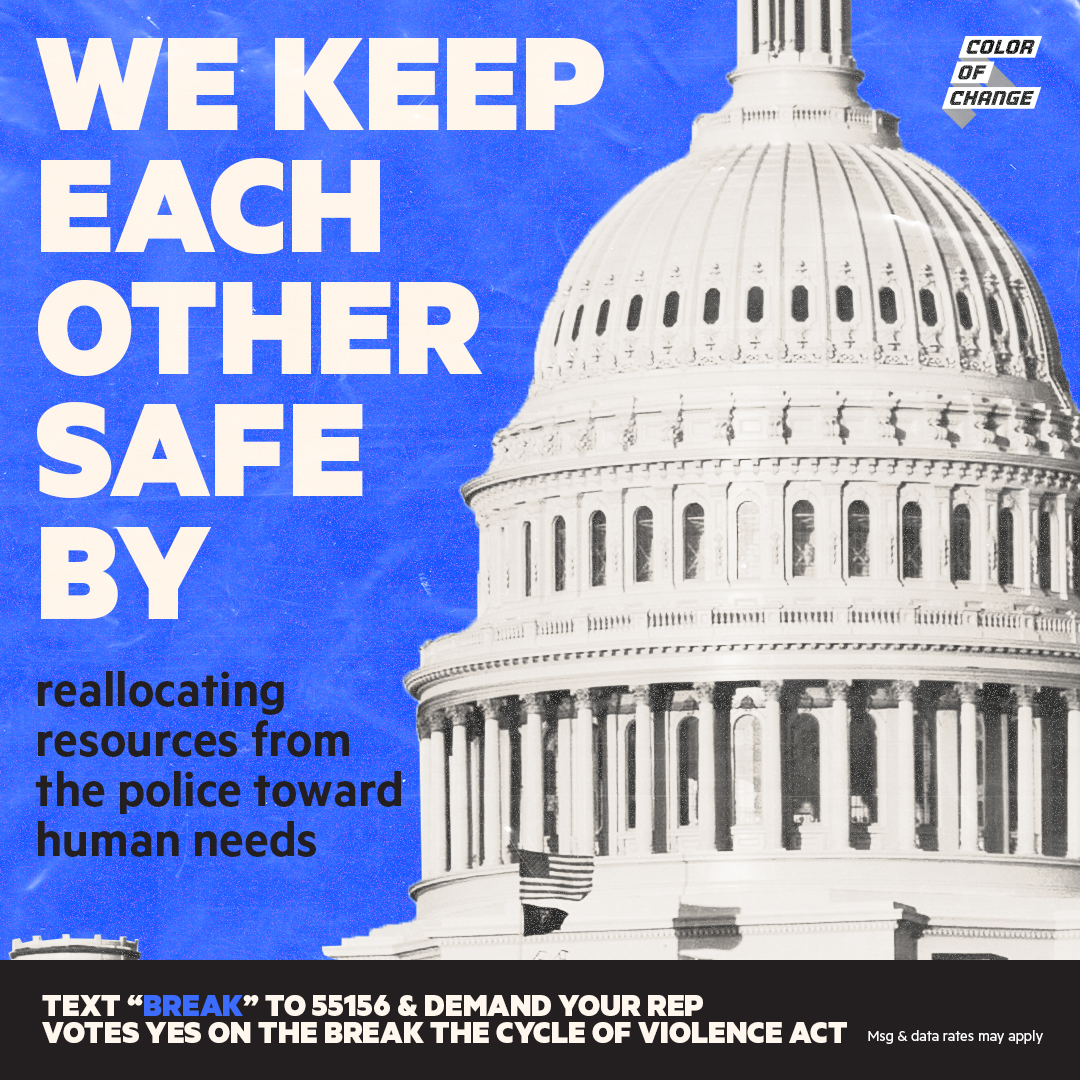 blue background with white capital building. we keep each other safe by reallocating resources from the police to human need. text BREAK to 55156 & demand your rep votes yes on the break the cycle of violence act