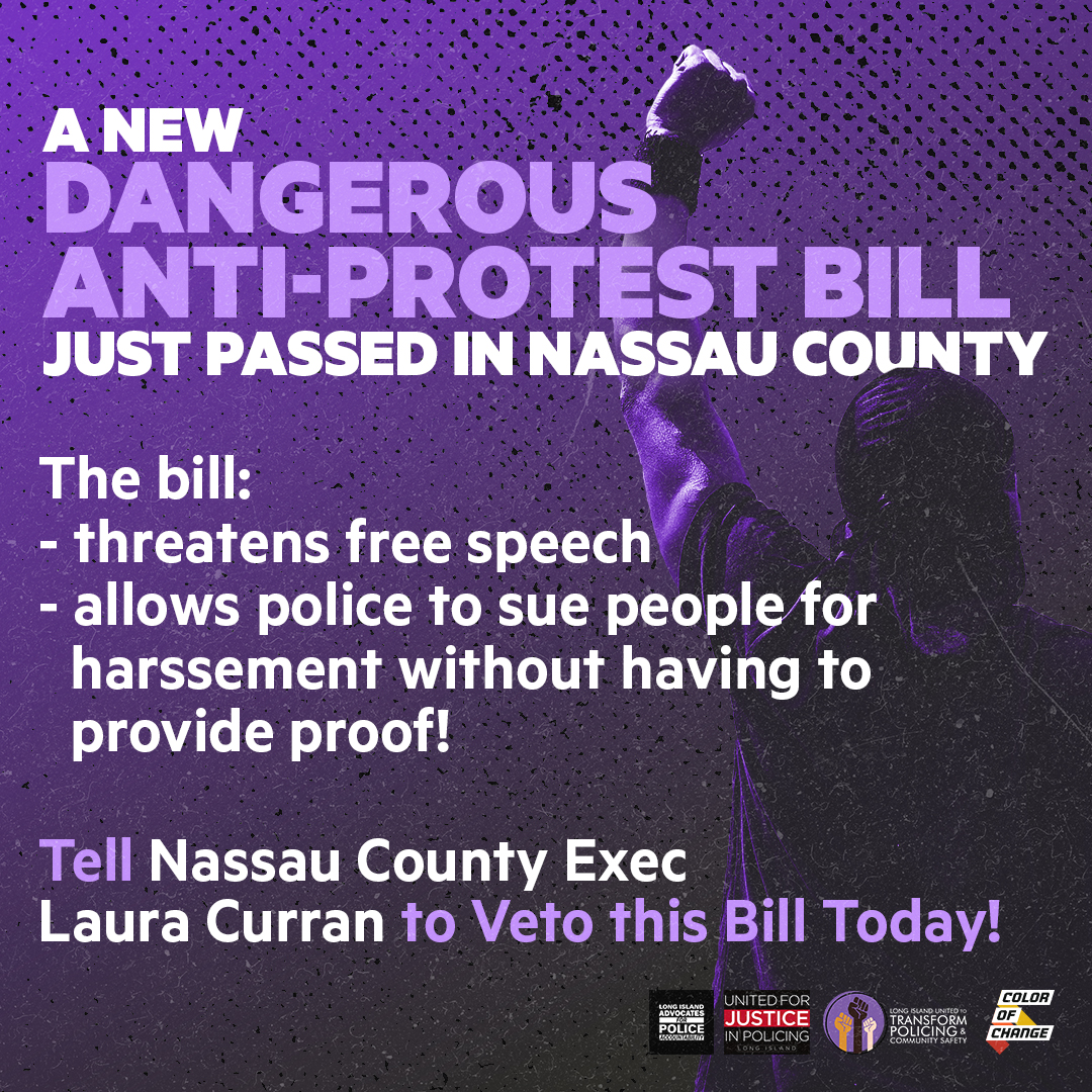 ACTION NEEDED: Nassau County just passed a dangerous anti-protest bill, but there's still time to fix this!