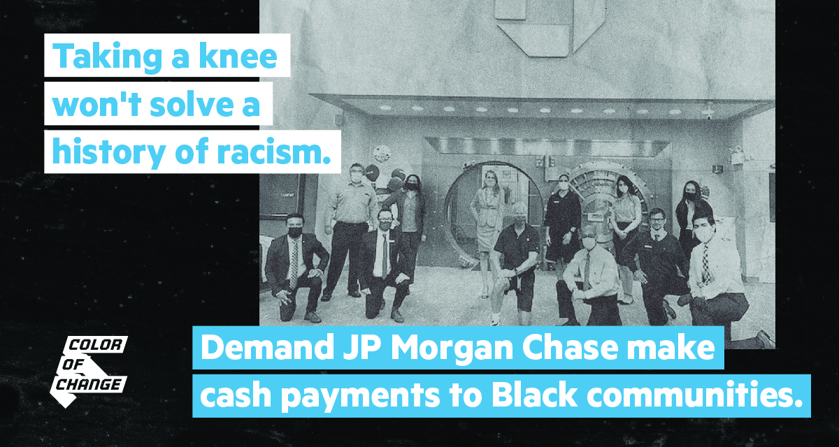 JP Morgan Chase must face its history of slavery. Demand JP Morgan Chase make cash payments to Black communities.