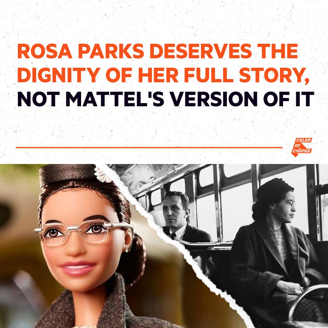 Photo of Rosa Parks contrasted with photo of Rosa Parks Barbie