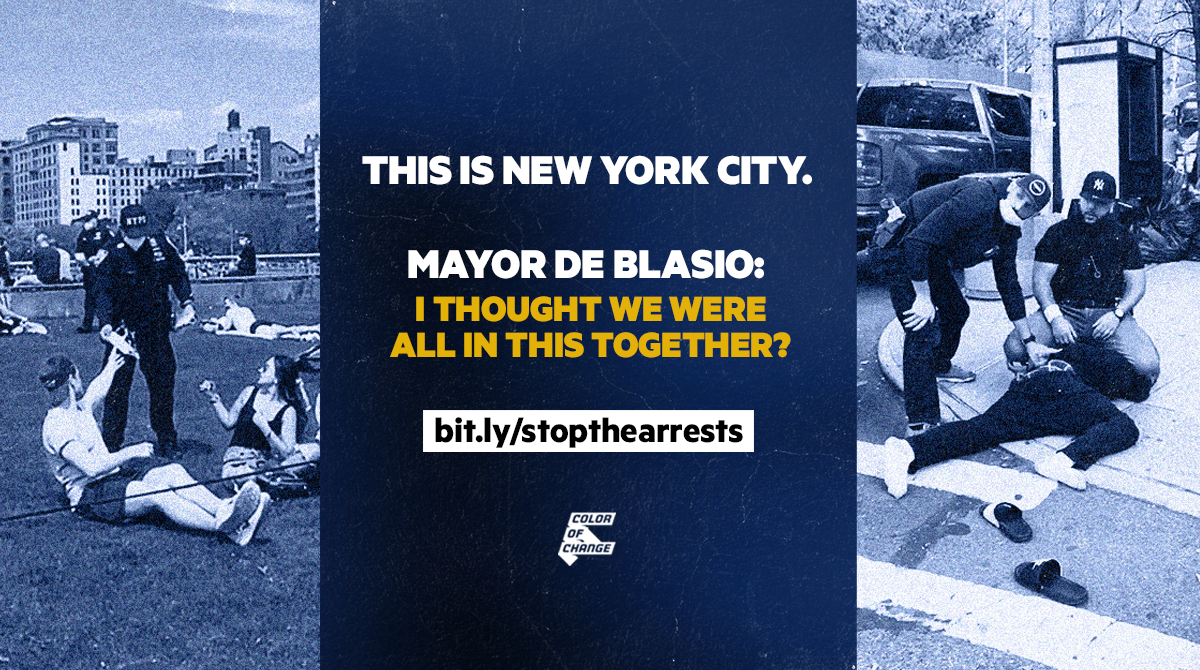 NYPD handing out face masks to white people, while brutally arresting a black person for social distancing violations. With text that reads, this is New York City. Mayor de Blasio: I thought we were all in this together.