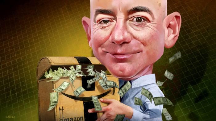 Cartoon of Jeff Bezos holding suitcase of money with Amazon logo on it. Illustrated by Joe Cummings.