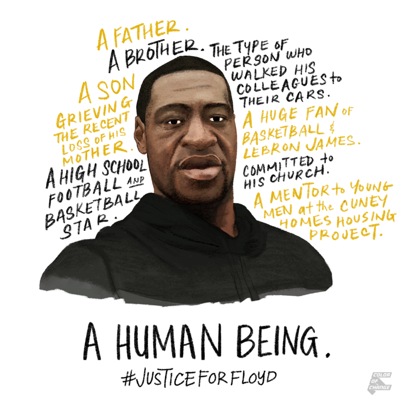 Illustrated picture of George Floyd, stating characteristics his family used to describe him