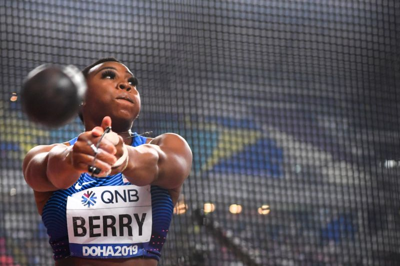 Image of Olympic athlete Gwen Berry preparing to throw in her hammer throw event.