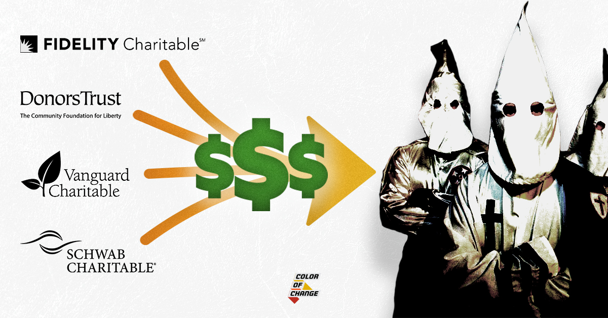 Four corporate charities on left arrow with cash moves from left to right towards images of KKK
