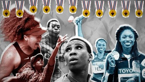 A graphic with images of Naomi Osaka, Gwen Berry, and Allyson Felix. Across the top of the graphic is a line of gold medals hanging, with a picture of a torch on each medal.