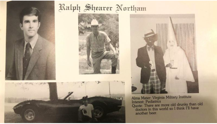 VA Governor Ralph Northam's medical school yearbook page with photo of man in blackface and photo of man in KKK garb.