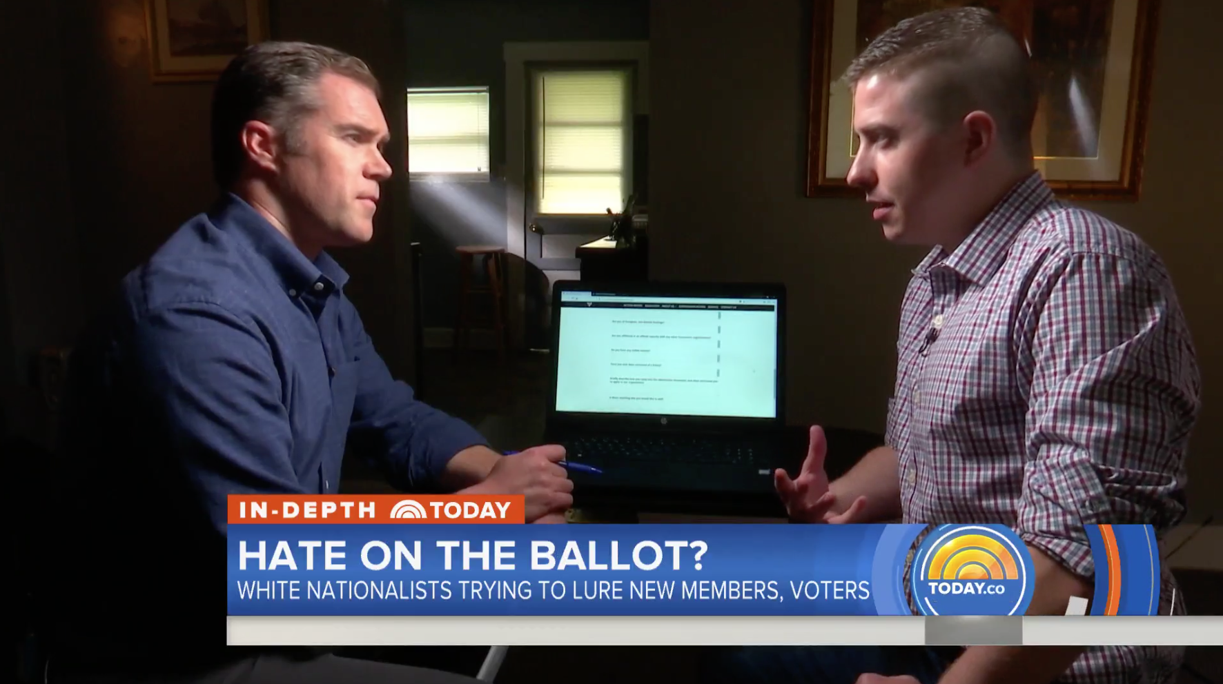 NBC Today show host Peter Alexander interviewing Patrick Casey of White Hate Group Identity Europa on segment that aired October 17th